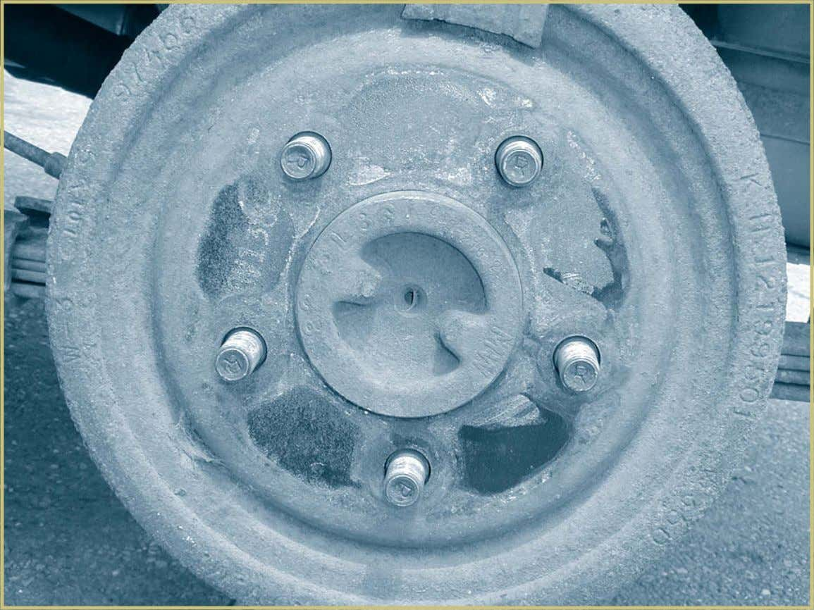 Automotive Braking Systems 71 FIGURE 50—This is a brake drum mounted on the rear axle of