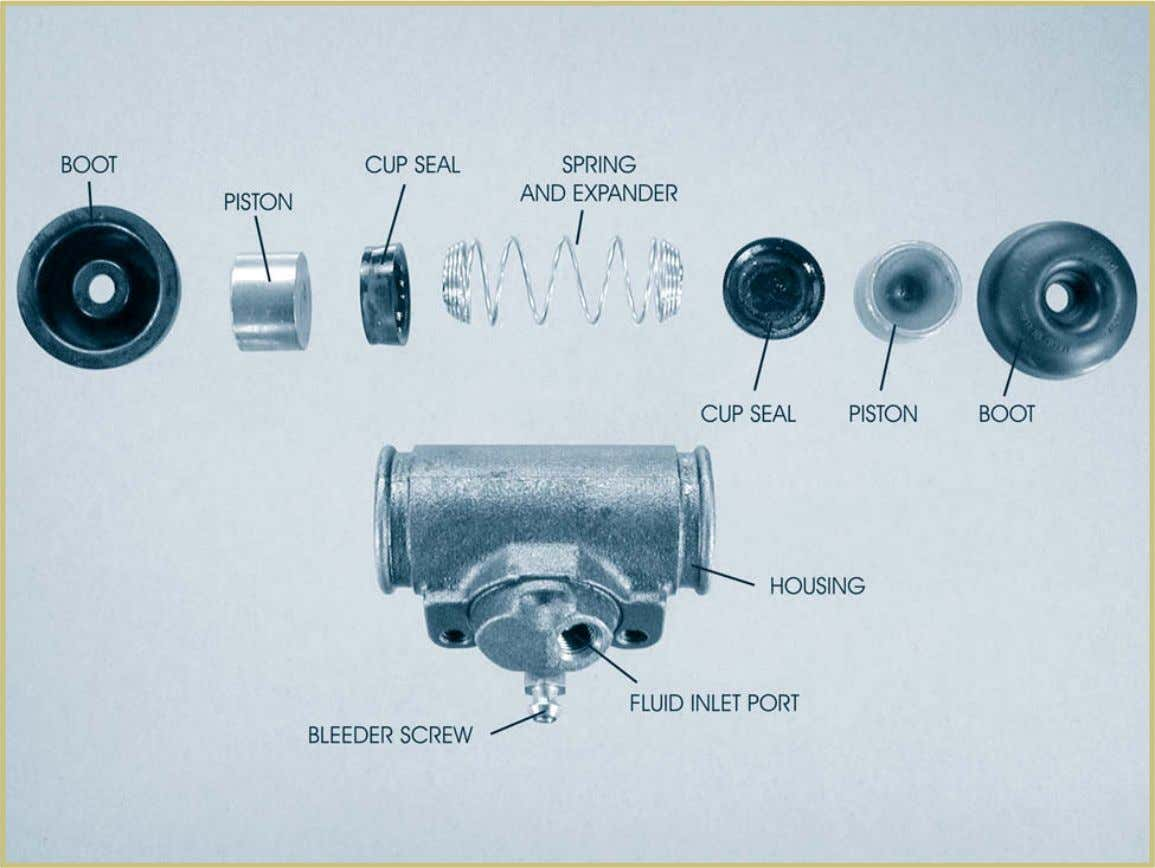 Automotive Braking Systems 83 FIGURE 62—These are the internal parts of a wheel cylinder. Note that