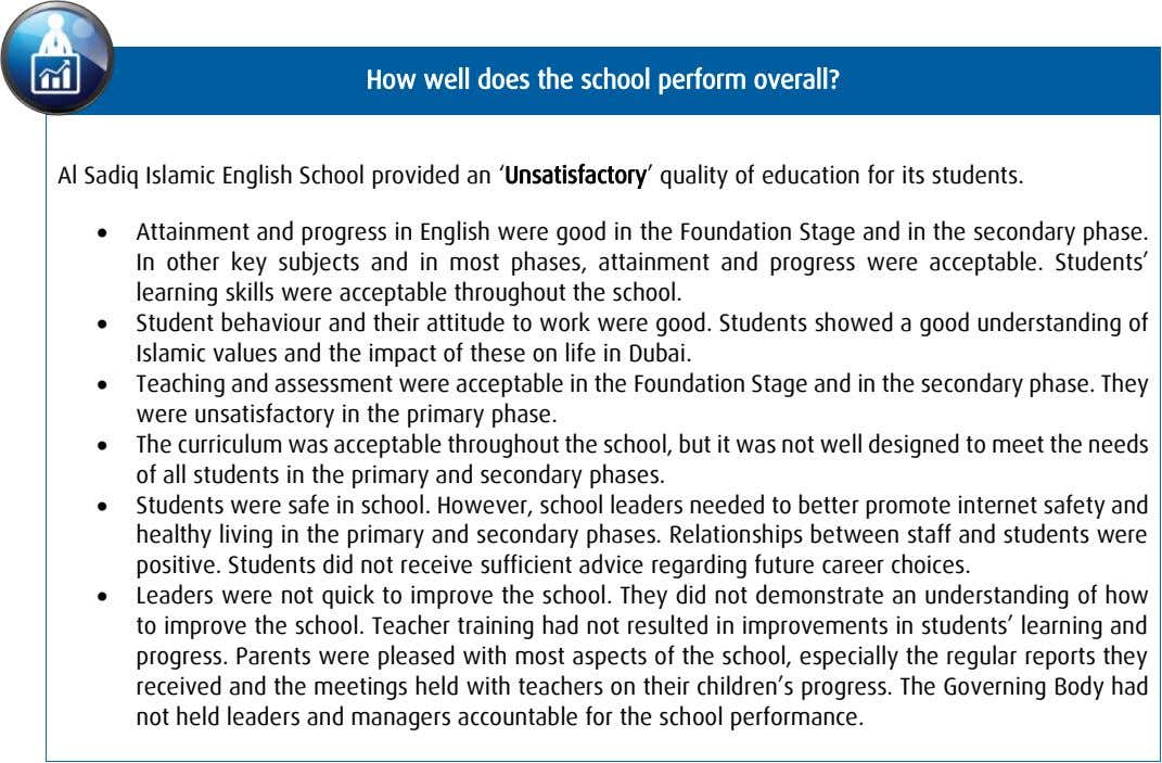 How well does the school perform overall? Al Sadiq Islamic English School provided an 'Unsatisfactory'