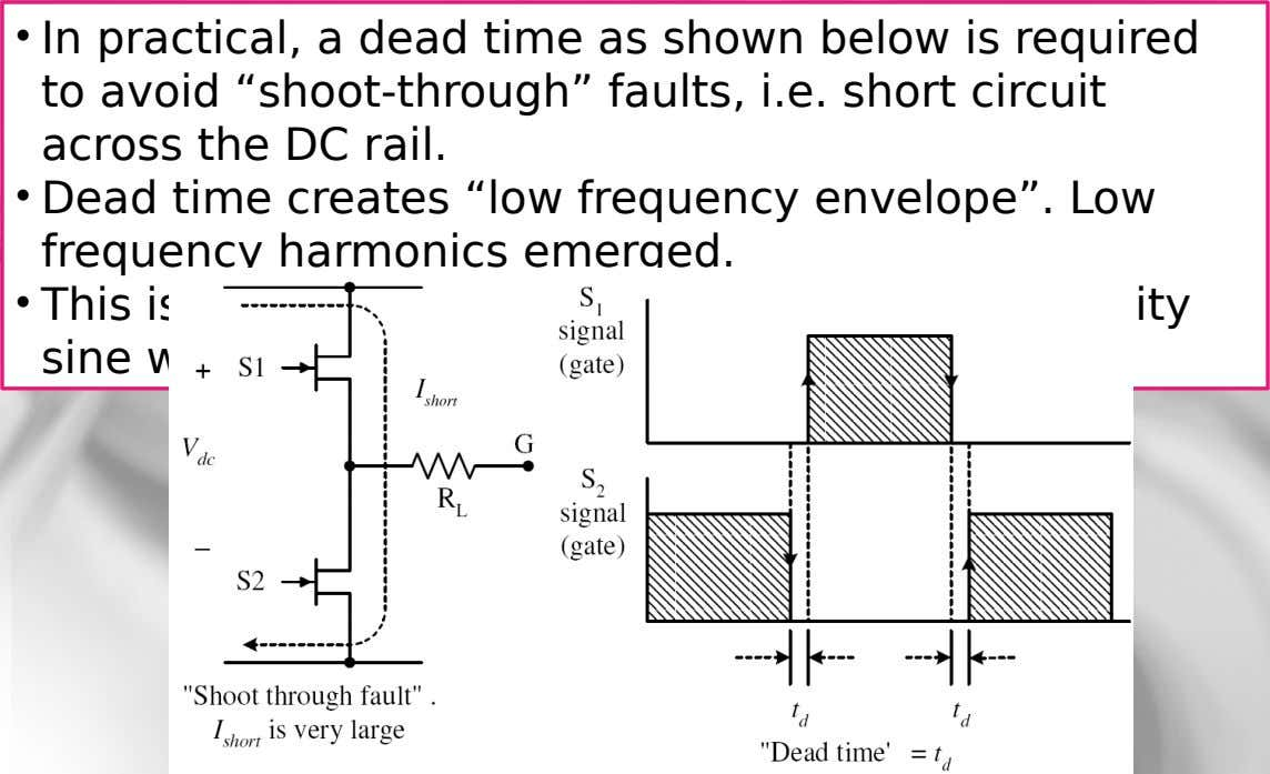 "• In practical, a dead time as shown below is required to avoid ""shoot-through"" faults, i.e."