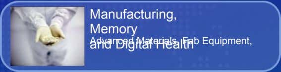 Manufacturing, Memory Advanced Materials, Fab Equipment, and Digital Health