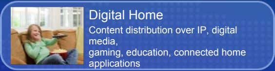 Digital Home Content distribution over IP, digital media, gaming, education, connected home applications