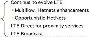 Continue to evolve LTE: Multiflow, Hetnets enhancements Opportunistic HetNets LTE Direct for proximity services LTE