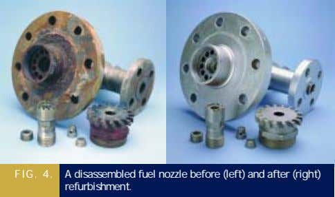 FIG. 4. A disassembled fuel nozzle before (left) and after (right) refurbishment.
