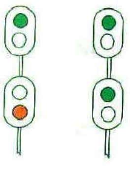 "a Stop signal ""On "" position ""Off "" position ASPECT Stop Proceed with caution Proceed with"