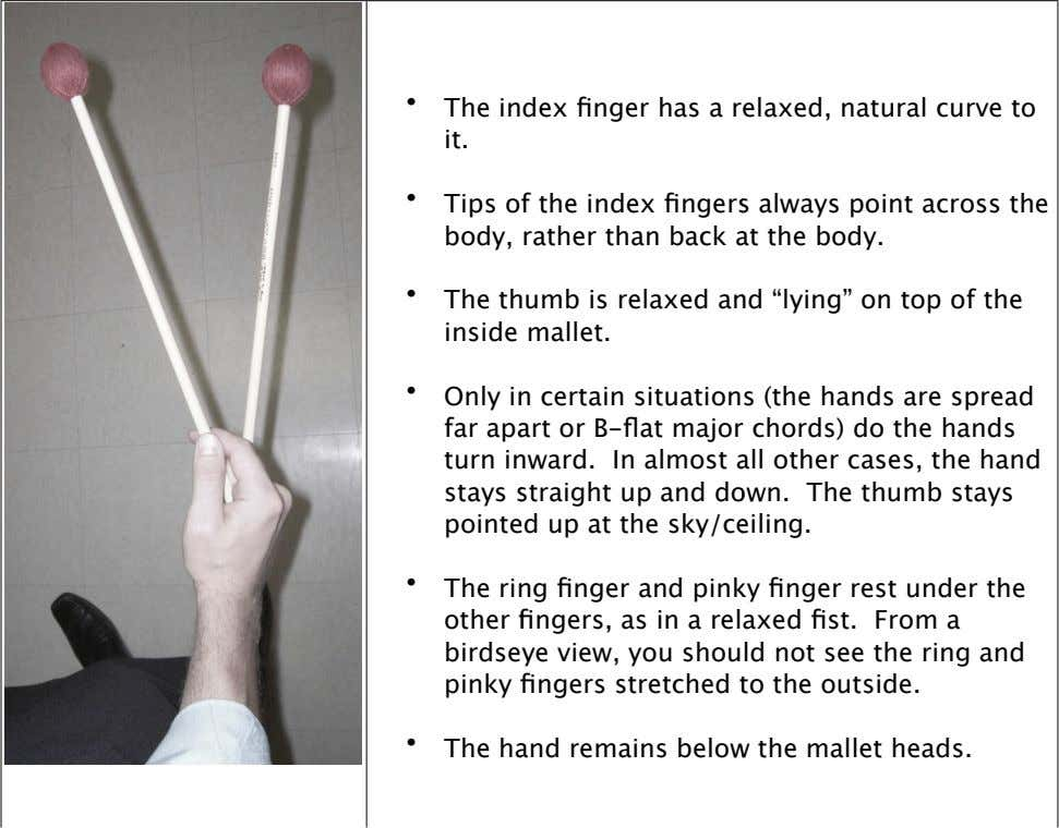 • The in dex finger has a r elaxed, natural curve to it. • Tips