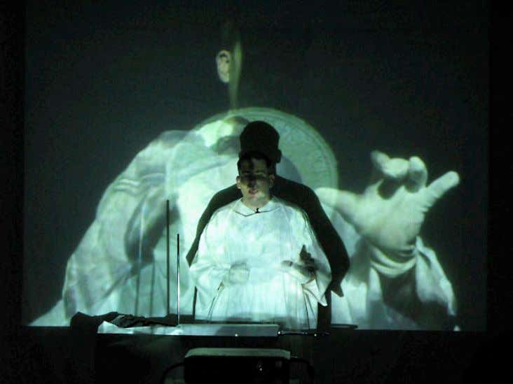 12. Breathing in B Flat , 2007, performance view 13. St. Frank and the Wolf ,