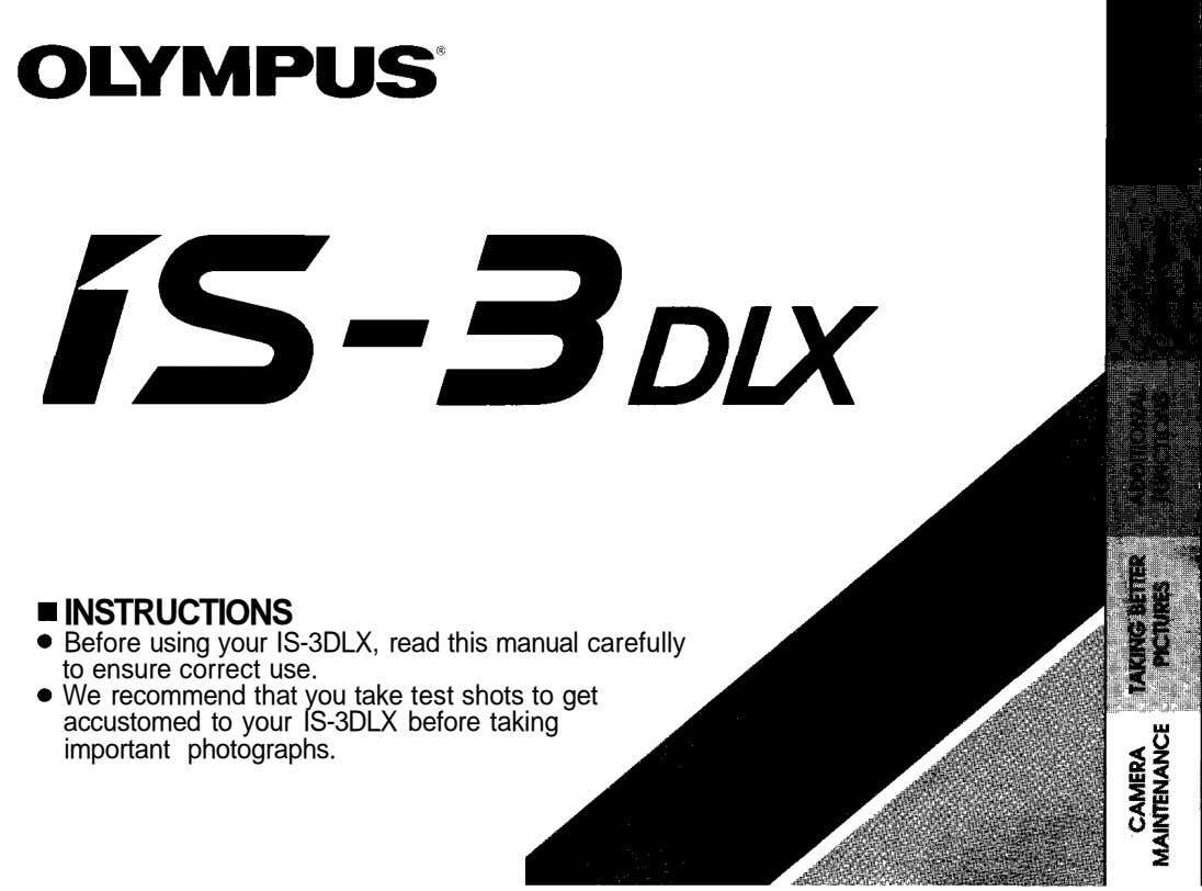 INSTRUCTIONS Before using your IS-3DLX, read this manual carefully to ensure correct use. We recommend