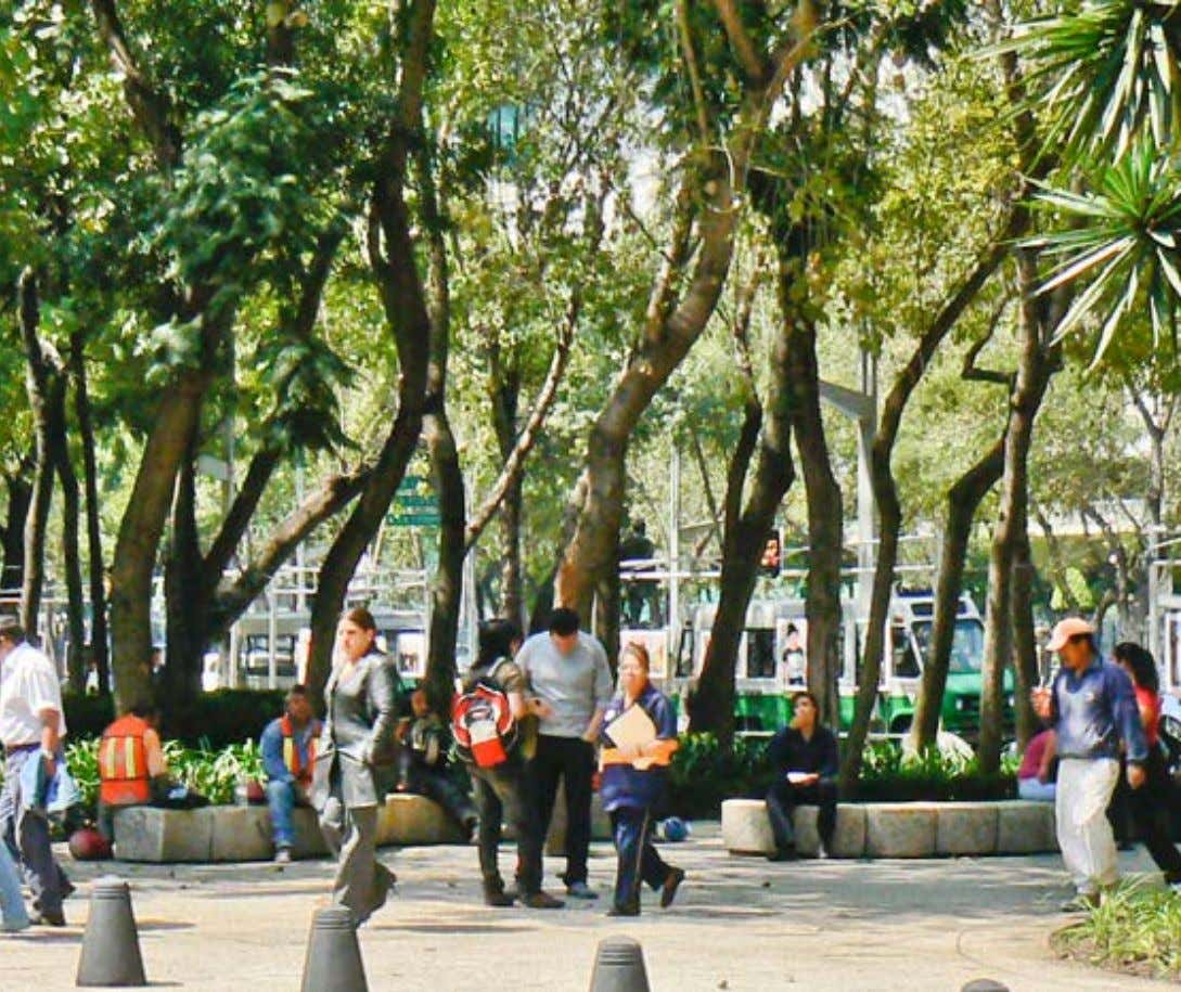 Reforma Avenue in Mexico City, Mexico, has vibrant and well designed pedestrian spaces located near