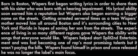 Born in Boston, Wispers first began writing lyrics in order to share them with his