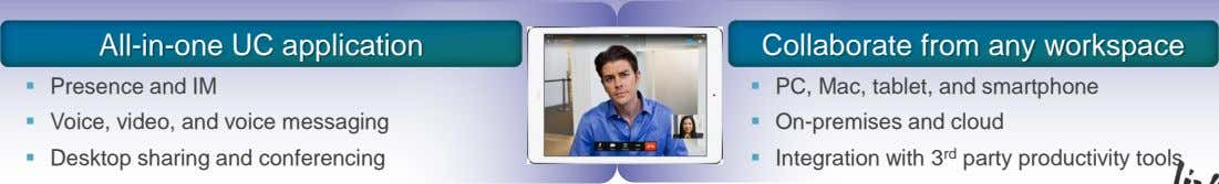 All-in-one UC application Collaborate from any workspace  Presence and IM  PC, Mac, tablet,