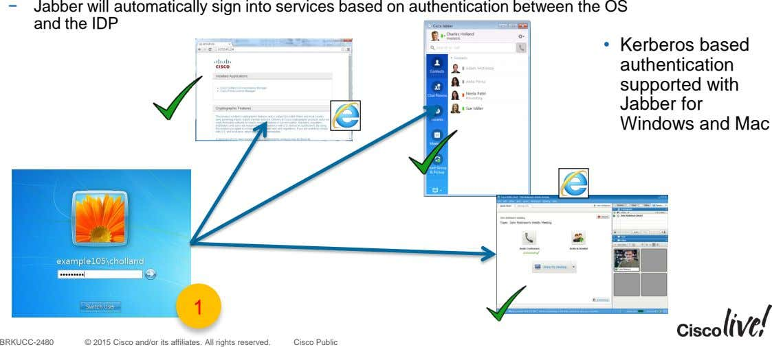 − Jabber will automatically sign into services based on authentication between the OS and the