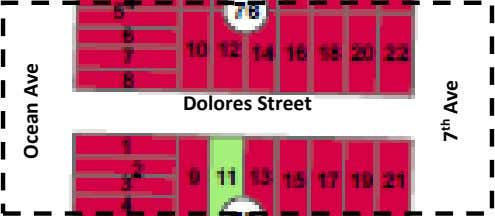 Figure 1: Example of Standard Two-block Area (max 5 wine tasting establishments) Dolores Street Ocean Ave