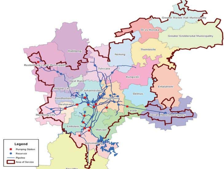 Figure 1 Rand Water's area of supply in Gauteng Province and surrounds (from Rand Water,