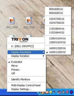 Utility Icon or Display Properties. shortcut to Display Properties in the SEE2 UV150 system tray icon
