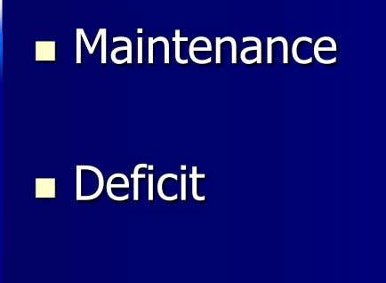  Maintenance  Deficit