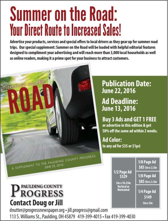 Summer on the Road: Your Direct Route to Increased Sales! Advertise your products, services and