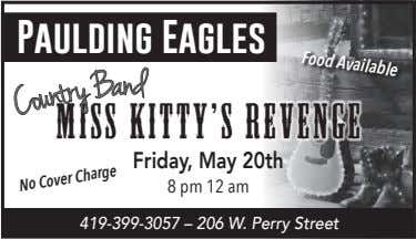 Food Available Paulding Eagles d n Miss Kitty's Revenge a B Friday, May 20th y