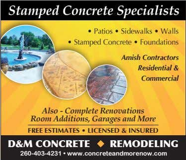 Stamped Concrete Specialists • Patios • Sidewalks • Walls • Stamped Concrete • Foundations Amish