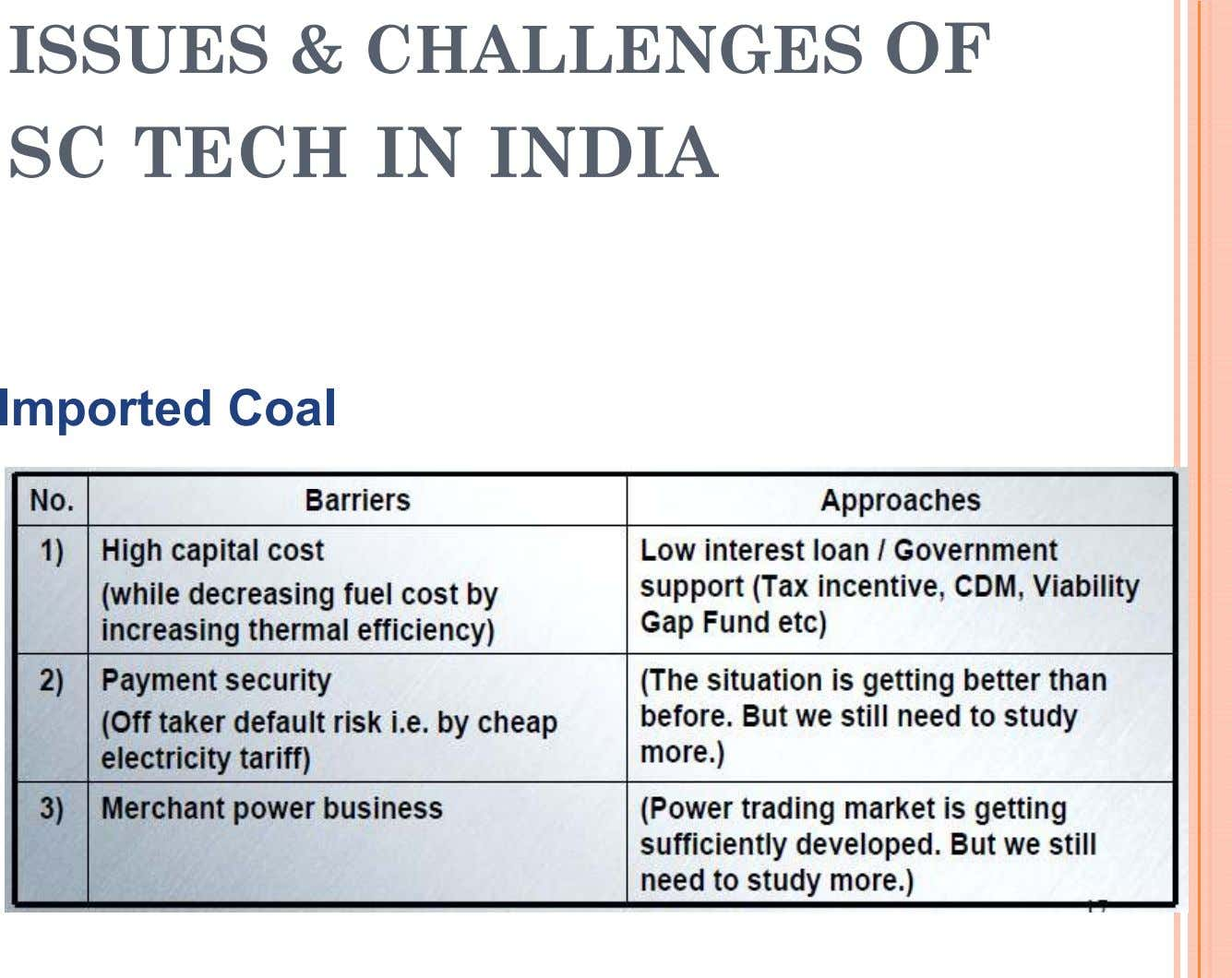 ISSUES & CHALLENGES OF SC TECH IN INDIA Imported Coal
