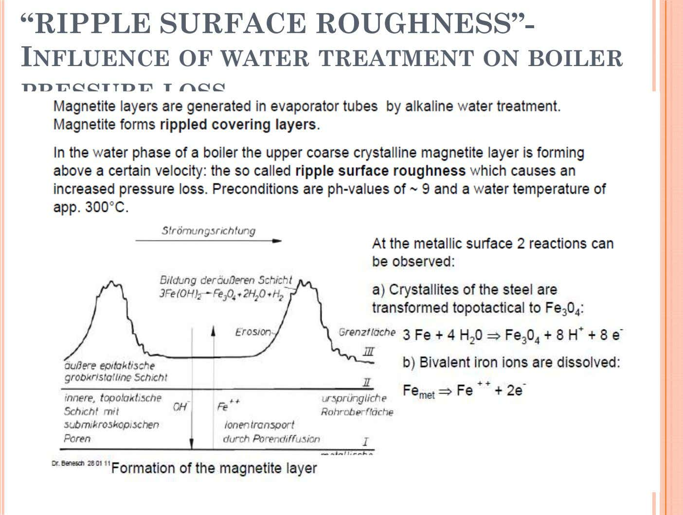 """RIPPLE SURFACE ROUGHNESS""- INFLUENCE OF WATER TREATMENT ON BOILER PRESSURE LOSS"