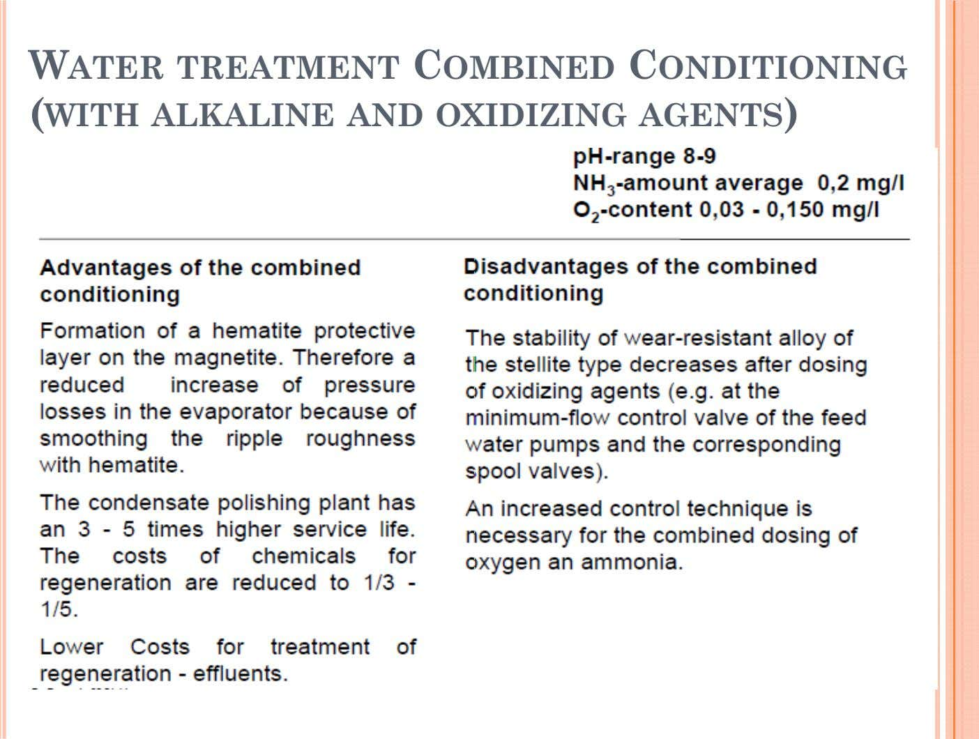 WATER TREATMENT COMBINED CONDITIONING (WITH ALKALINE AND OXIDIZING AGENTS)