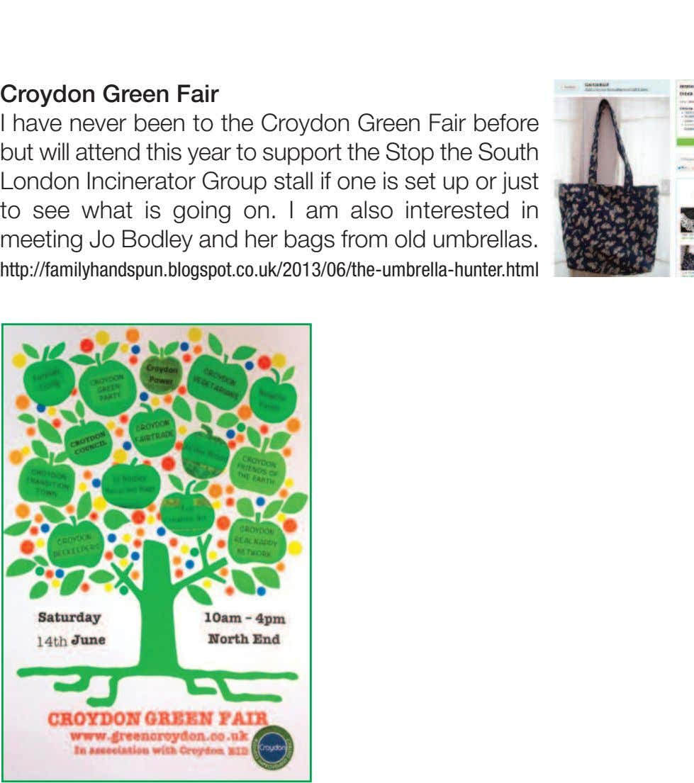 Croydon Green Fair I have never been to the Croydon Green Fair before but will