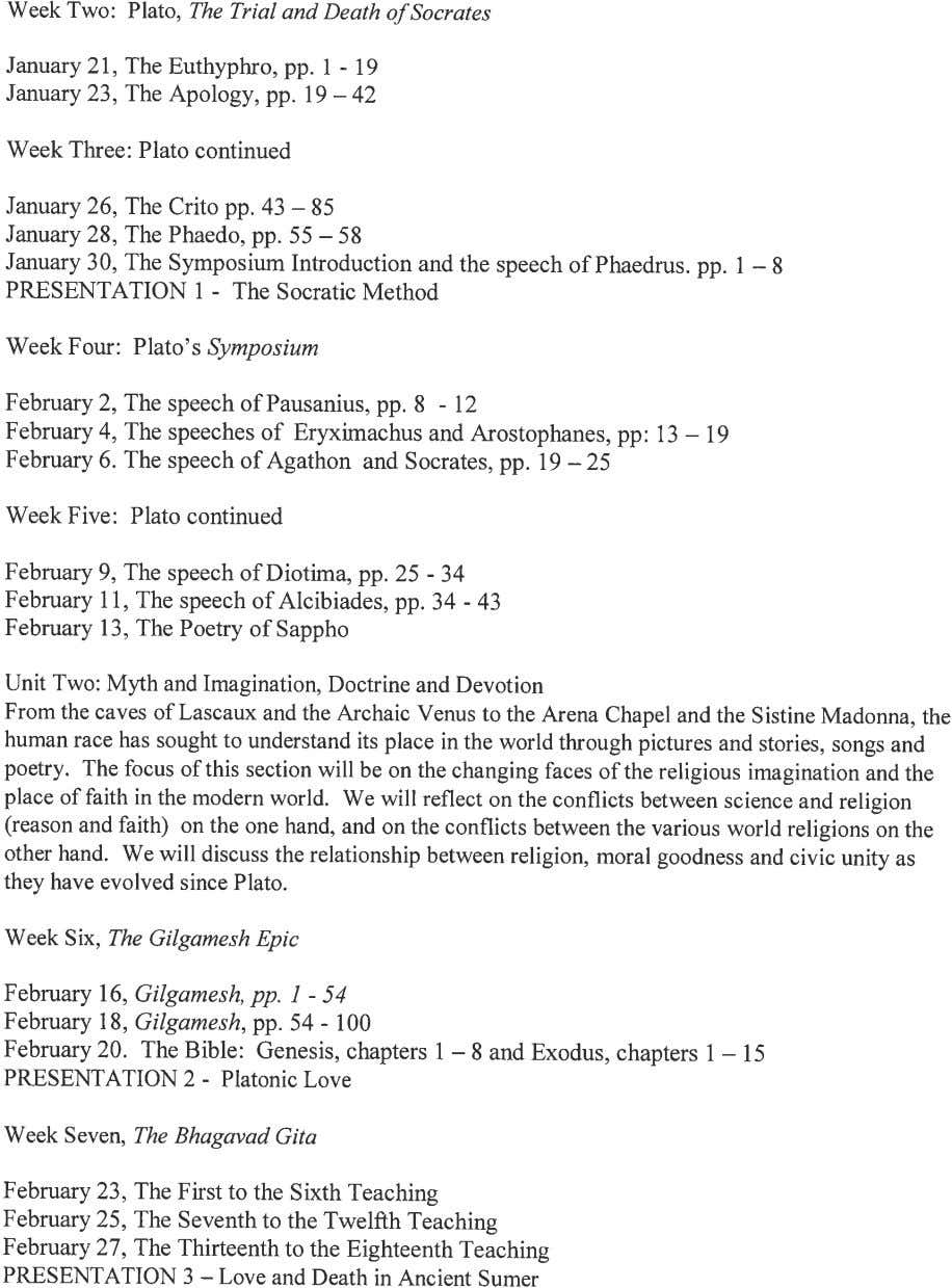 Week Two: Plato, The Trial and Death o.f Socrates January 21, The Euthyphro, pp. 1
