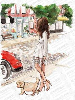 describe the scene by using words/phrases below. woman walking her dog red car white dress young