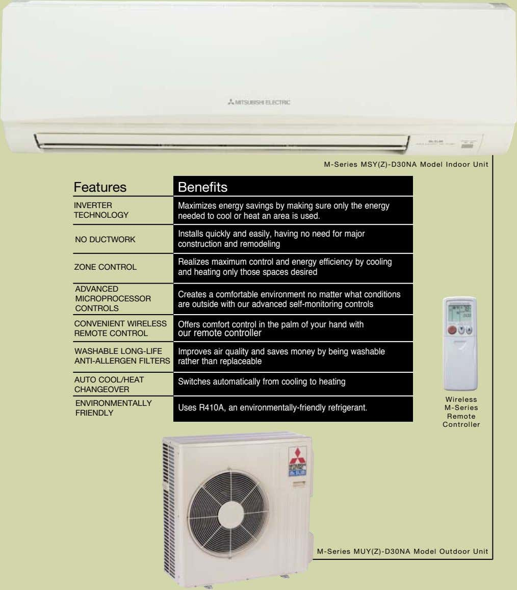 M-Series MSY(Z)-D30NA Model Indoor Unit Features Benefits INVERTER TECHNOLOGY Maximizes energy savings by making sure