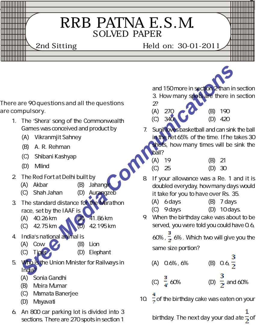 R.R.B. Patna E.S.M. RRB PATNA E.S.M. SOLVED PAPER 2nd Sitting Held on: 30-01-2011 and 150