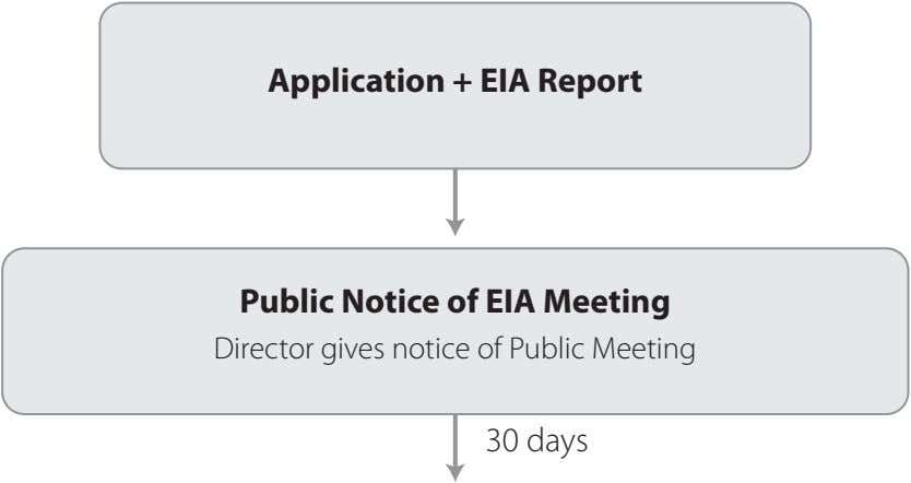 Application + EIA Report Public Notice of EIA Meeting Director gives notice of Public Meeting