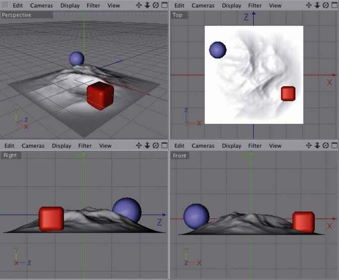 around the object in order to evaluate and work on it. Figure A.4 Different viewport views