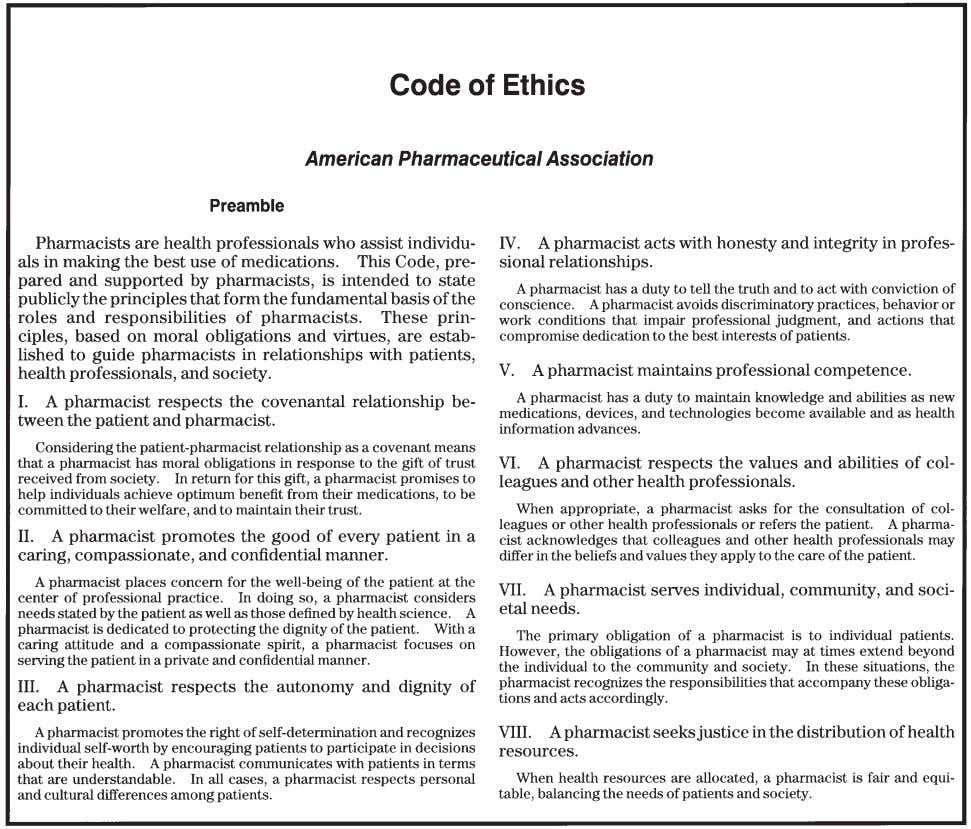 "2 PART 1: ORIENTATION Figure 3-1. Code of ethic (From ""Code of Ethics for Pharmacists."" Am"