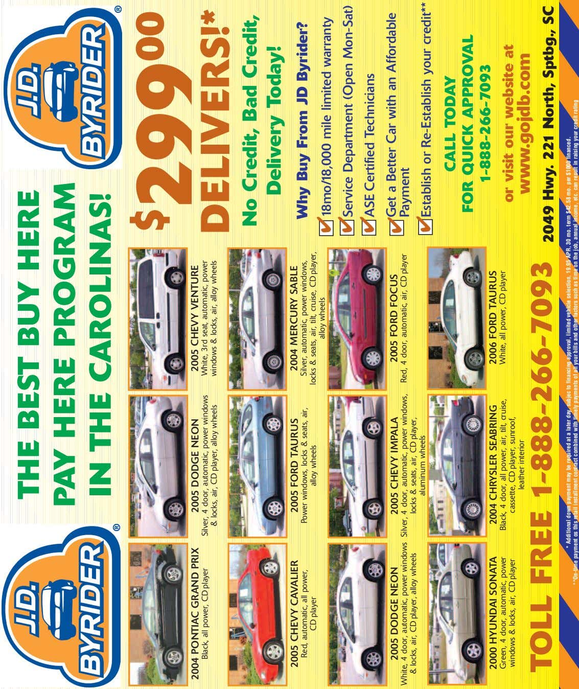 THE BEST BUY HERE PAY HERE PROGRAM IN THE CAROLINAS! 2004 PONTIAC GRAND PRIX 2005