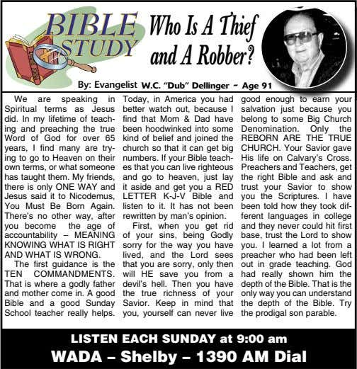 "Who Is A Thief andARobber? B y: Evangelist W.C. ""Dub"" Dellinger - Age 91 We"