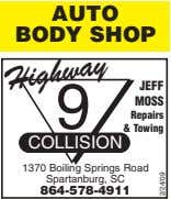 AUTO BODY SHOP Highway JEFF 9 MOSS Repairs & Towing COLLISION 1370 Boiling Springs Road