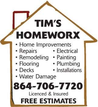 TIM'S HOMEWORX • Home Improvements • Repairs • Electrical • Remodeling • Painting • Flooring