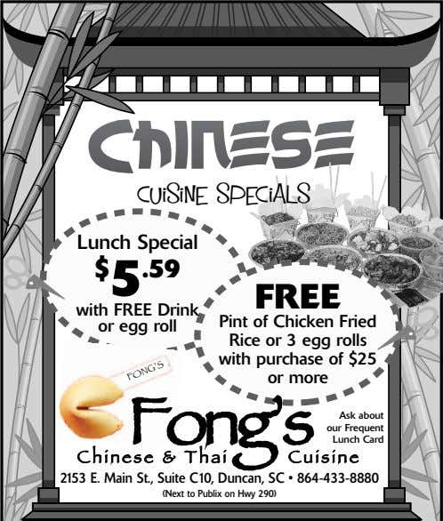 Cuisine Specials Lunch Special $ 5 .59 FREE with FREE Drink or egg roll Pint