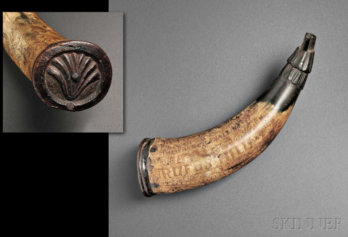 "Powder Horn Carried by Rufus Hill ""BY POWDER & BALL/THE FRENCH SHALL FALL/RUFUS HILL"" (Skinner)"