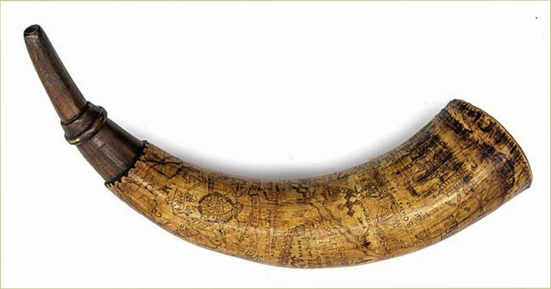 "Powder Horn Carried by Henry Livingston ""EMR, Y'Navy, His Horn made by Samuel Prisoner more"