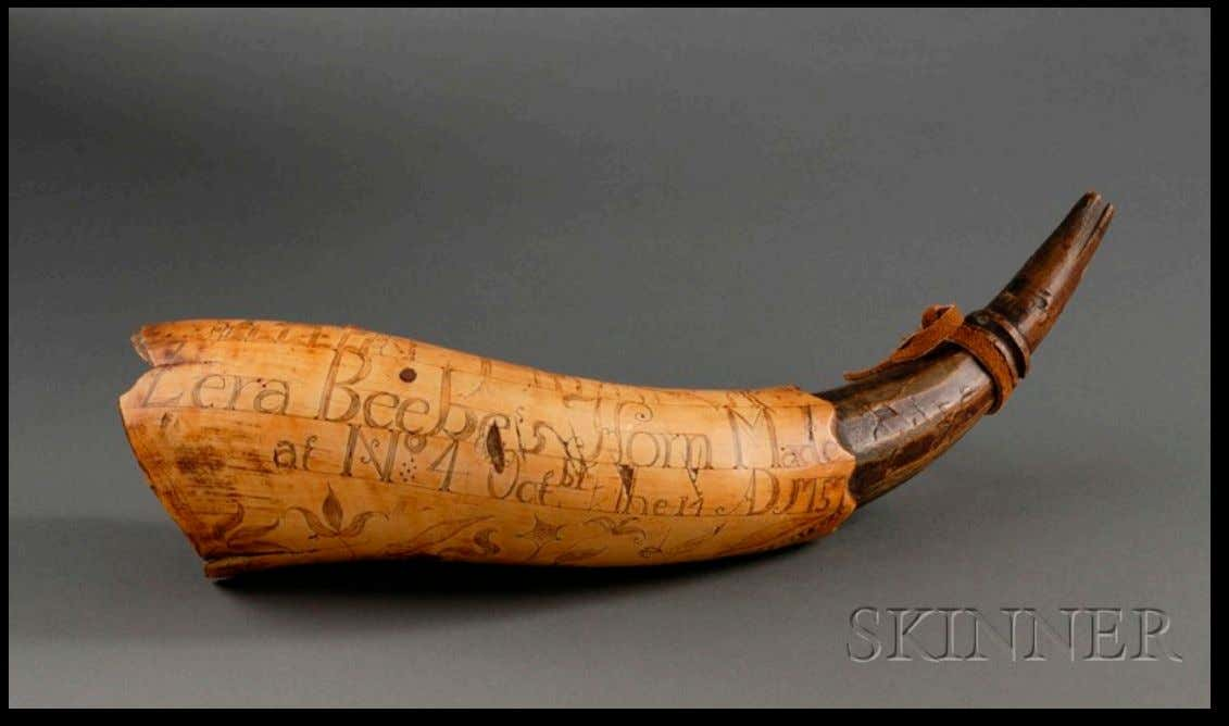 "Powder Horn Carried by Zera Beebe ""Zera Beebe's Horn Made at No. 4 - Oct.br"