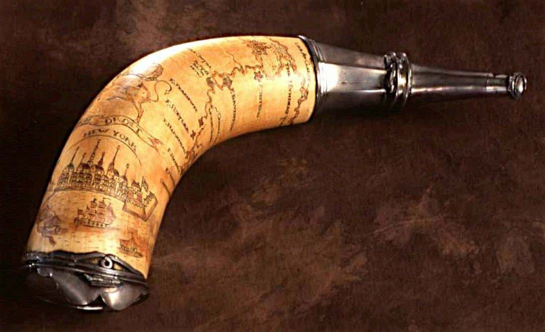Powder Horn bearing the Hudson & Mohawk River Valleys and Lakes Champlain & Ontario c.