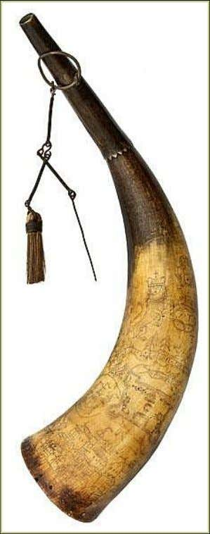 Powder Horn Carried by Johan Chrestoph Dated 1758 and 1762 (Cowan's Auctions)