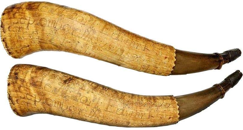 "Powder Horn Carried by James Garthwait "" Steel Not This Horn for Fear of Shame"