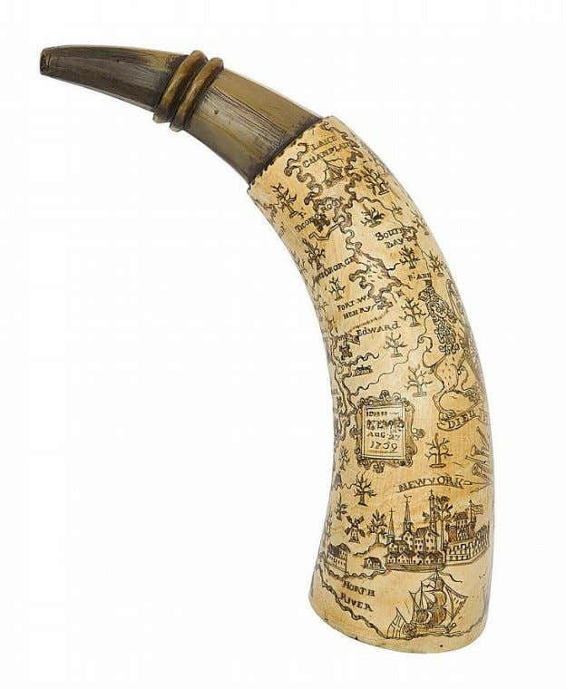 "Powder Horn Carried by John --- "" 'John (surname defaced) Aug. 27 1759"" (Cowan's Auctions)"