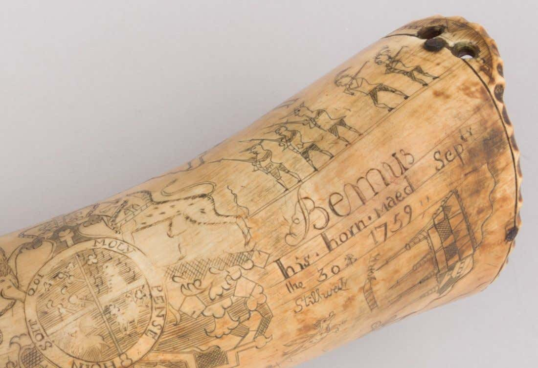 Powder Horn Carried by Jotham Bemus & Engraved by Jacob Gay of New York 1759