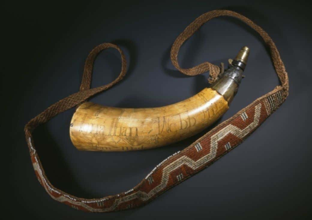 Powder Horn Carried by Jonathan Webb 1759 (National Museums of Scotland)
