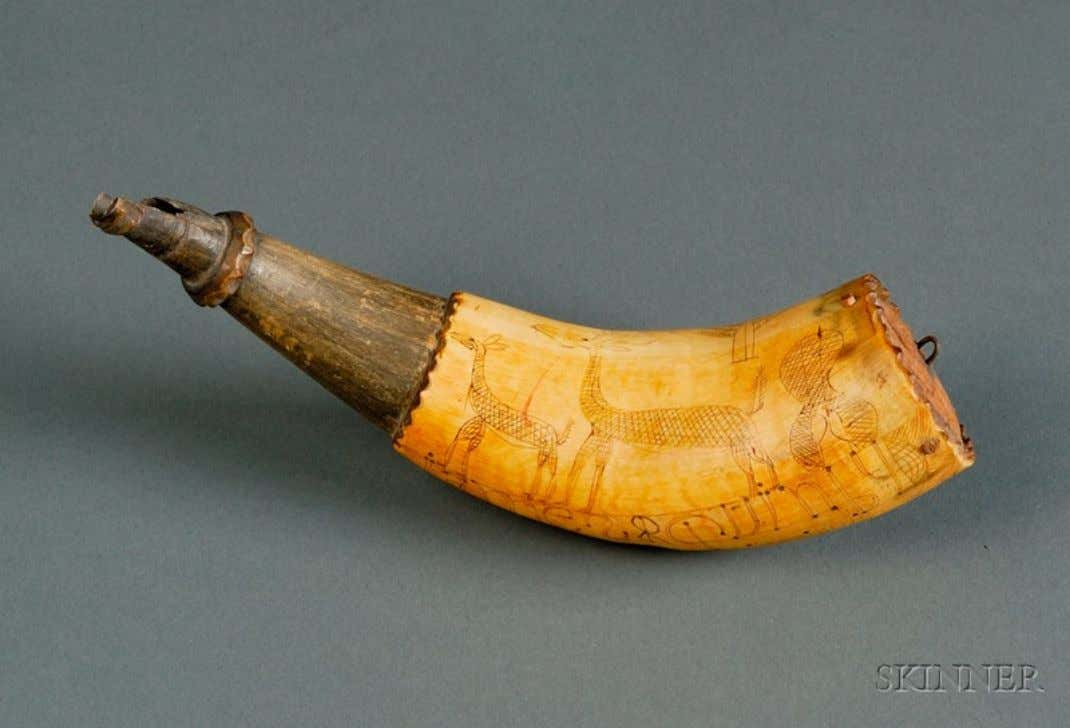 "Powder Horn Carried by James Quimby of Nottingham, New Hampshire ""James Quimby - James -"