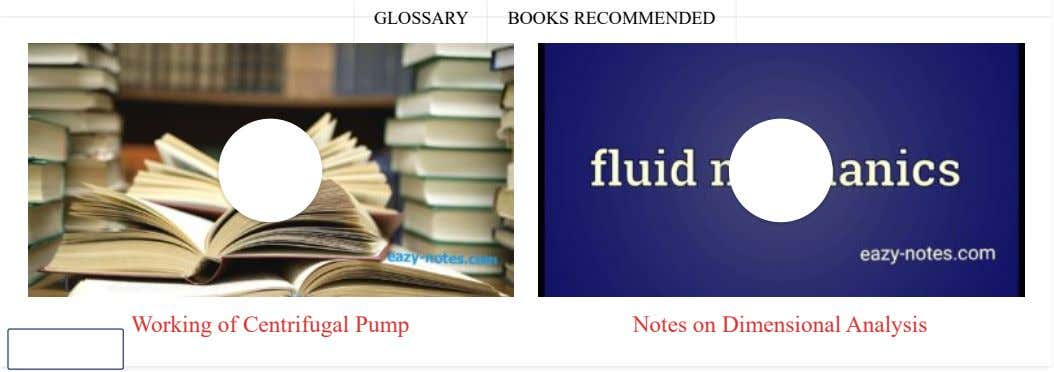 GLOSSARY BOOKS RECOMMENDED 1 Working of Centrifugal Pump Notes on Dimensional Analysis